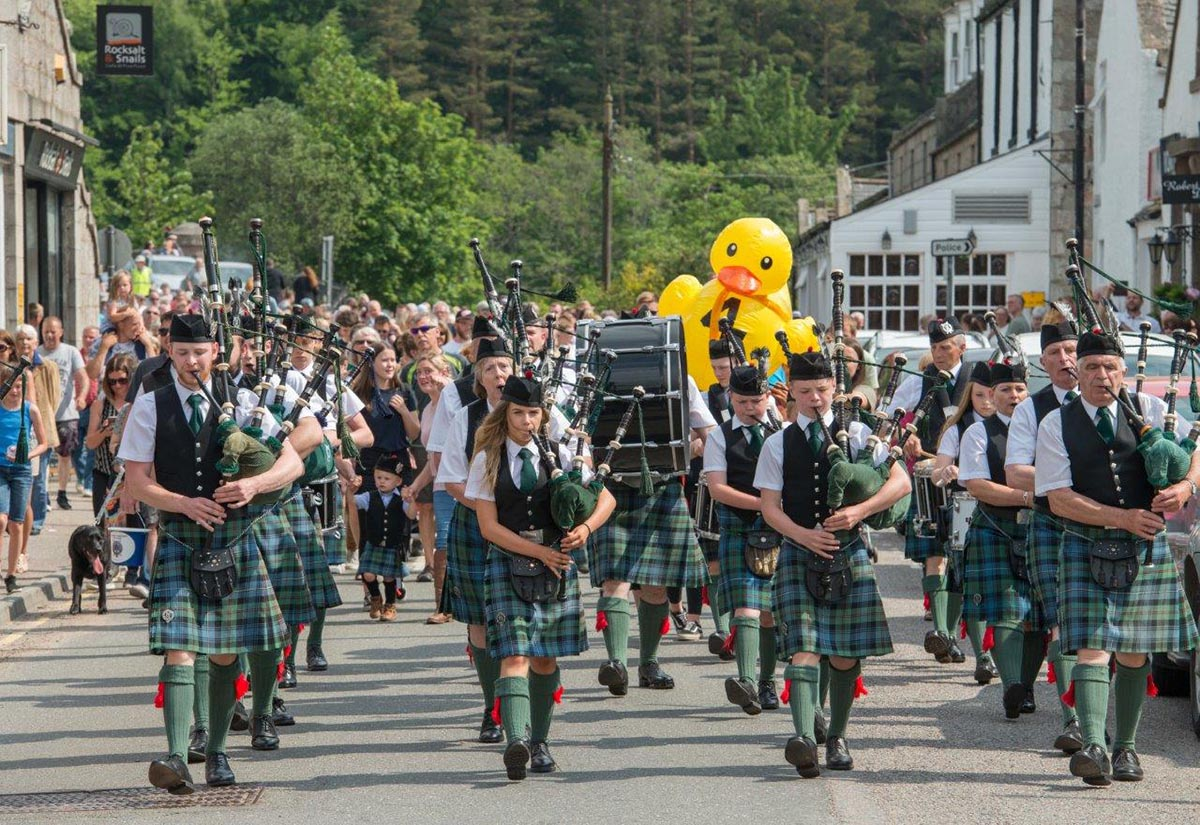 Pipe Band Parade with Winning Duck